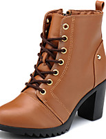Women's Shoes Leather Chunky Heel Heels / Motorcycle Boots Boots Office & Career / Casual Black / Brown