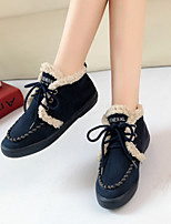 Women's Shoes Fleece Flat Fashion Boots / Comfort Boots Flats Outdoor / Casual Black /Dark  Blue / Red