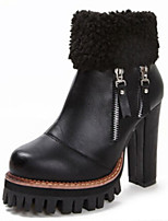 Women's Shoes Suede Stiletto Heel Comfort Boots Outdoor Black / Brown