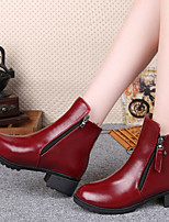 Women's Shoes Zipper Rivet Pointed Toe Chunky Heel Comfort Boots Dress / Casual Black / Red
