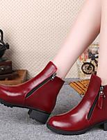Calçados Femininos - Botas - Conforto - Salto Grosso - Preto / Vermelho - Courino - Social / Casual