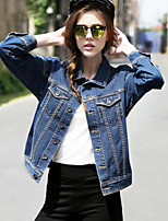 Women's Solid Blue Denim Jacket , Vintage / Casual