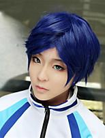 Lanting cos rei ryugazaki libre azul corta cosplay del partido peluca del anime del pelo