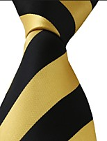 Yellow Black Striped Classic Jacquard Woven Silk Men Necktie