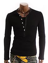 Herren Freizeit / Büro / Formal / Sport T-Shirt  -  Einfarbig Kurz Baumwollmischung