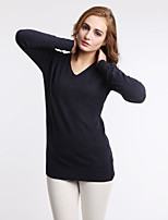 Women's Autumn Winter Fashion Plus Size V-Neck Sexy Cotton Knitting Base Casual Blouse