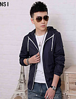 2015 spring and autumn new men's casual jacket coat Metrosexual thin slim young hooded windbreaker.