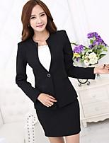 Women's Solid Blue / Black Blazer , Work / Plus Sizes Deep V Long Sleeve