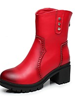 Women's Shoes Chunky Heel / Fashion Boots / Round Toe Boots Dress / Casual Black / Red