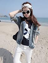 Women's Print Blue Jackets , Casual Shirt Collar Long Sleeve