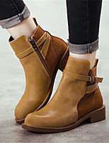 Women's Shoes Chunky Heel Pointed Toe Boots Casual Yellow