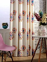 (Two Panel)Modern Colorful Circle  Embroidered  Cotton Energy Saving Curtain