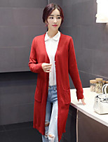 Women's Solid Red Cardigan , Vintage / Casual Long Sleeve