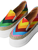 Women's Shoes Canvas Platform Round Toe Loafers Casual Multi-color
