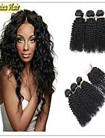 4 Pcs/Lot 8A Mongolian Kinky Curly Hair Brazilian Virgin hair With Closure,Kinky Curly Virgin Hair Curly Weave