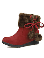Women's Shoes Fleece Wedge Heel Fashion Boots Boots Party & Evening / Dress Black / Brown / Red