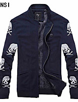 Autumn young male short sleeve knit jacket slim casual coat collar baseball tide thin skull jacket