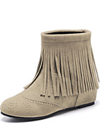 Women's Boots Fall / Winter Fashion Boots Casual Wedge Heel Tassel Black / Green / Beige / Khaki Walking