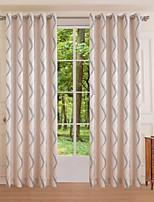 (um painel) de poliéster ondas bege quarto jacquard cortina de escurecimento