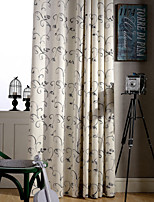 Two Panels Green  Grey Vine Floral Linen Polyester Blend Curtain
