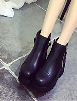 Women's Shoe Chunky Heel Round Toe Boots Casual Black