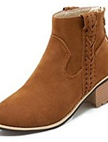 Women's Shoes Fleece Chunky Heel Fashion Boots Boots Office & Career / Dress / Casual Black / Brown / Beige