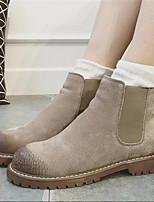 Calçados Femininos - Botas - Arrendondado - Salto Grosso - Preto / Khaki - Camursa - Casual