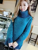 Women's Color Block High Collar Thicken Pullover , Casual Long Sleeve