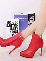 Women's Shoes Hin Thin Sexy Fashion Stiletto Heel Comfort / Pointed Toe Boots Dress / Casual Black / Red