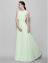 Floor-length Chiffon Bridesmaid Dress - Sage A-line Jewel