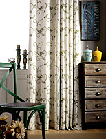 (Two Panels)Country  Green Vine Floral  Embroidered Linen Polyester Blend Curtain