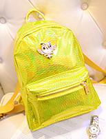 Women PU Baguette Backpack - Purple / Yellow / Black