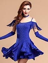 Latin Dance Dresses Women's Performance Rayon / Milk Fiber Crystals/Rhinestones 1 Piece Black / Red / Royal Blue