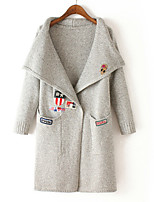 Women's Solid Gray Cardigan , Casual Long Sleeve