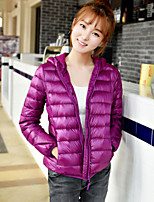 Women's Solid White / Black / Yellow / Purple / Navy Blue Parka Coat , Casual Hooded Long Sleeve