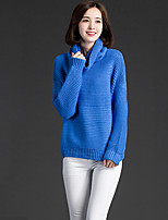 Women's Solid Blue Pullover , Casual Long Sleeve