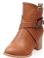 Women's Shoes Leatherette Chunky Heel Fashion Boots Boots Office & Career / Dress / Casual Black / Brown