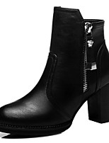 Women's Shoes Synthetic Chunky Heel Fashion Boots / Motorcycle Boots Boots Party & Evening / Dress / Casual Black / Red