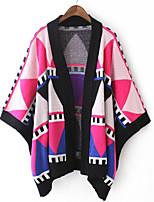 Women's Print / Color Block Multi-color Cloak Loose Cappa Cardigan , Casual Long Sleeve