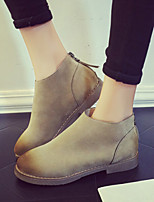 Women's Shoes British Style Frosted Fashion Flat Heel Comfort Boots Dress / Casual Black / Brown / Khaki