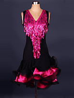 Latin Dance Outfits Women's Performance Spandex / Polyester Tassel(s) 1 Pieces