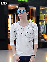 In the autumn of 2015 new male Korean men's T-shirt long sleeve shirt collar shirt male male V slim