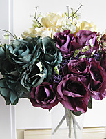 Wood Grain Rose in Silk Cloth Artificial Flower for Home Decoration(5Piece)