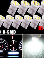 10X Pure White T10 Wedge 8SMD Dashboard Dash Speedometer Instrument Panel Light