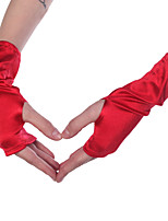 Sexy Stretch Red Fingerless Wrist Length Gloves