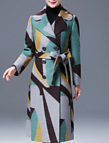 Women's Geometric / Color Block Multi-color Coat , Vintage / Work Long Sleeve Tweed / Others / Polyester