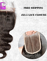 Tangle Free 8-20inch in Stock Natural Black Body Wave Hair Closure Bleached Knots Brazilian Lace Closure