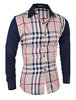 Men's Stylish Plaid  Long Sleeve Dress Shirt