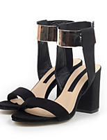Women's Shoes Suede Chunky Heel Open Toe Sandals Casual Black
