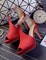 Women's Shoes Suede Stiletto Heel Peep Toe Sandals Casual Black / Red